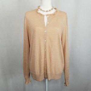LOFT Woman's Rose Metallic Cardigan w/Necklace  XL
